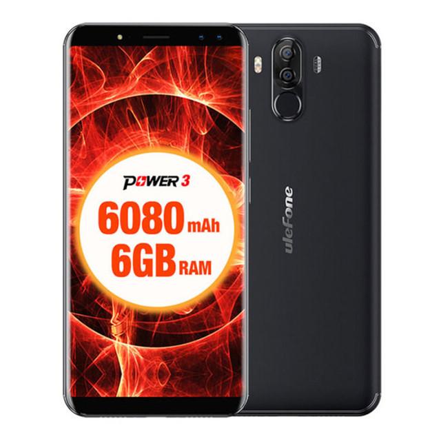 ULEFONE POWER 3 6GB RAM 64GB ROM Helio P23 MTK6763 2.0GHz Octa Core 6.0 Inch FHD+ Full Screen 6080mAh Android 7.1 LTE Smartphone
