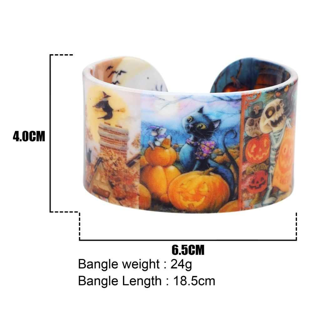 Bonsny Kunststoff Halloween-kürbis Katze Armreifen Armbänder Mode Cartoon Indischen Handwerk Schmuck Für Frauen Mädchen Neuheit Zubehör