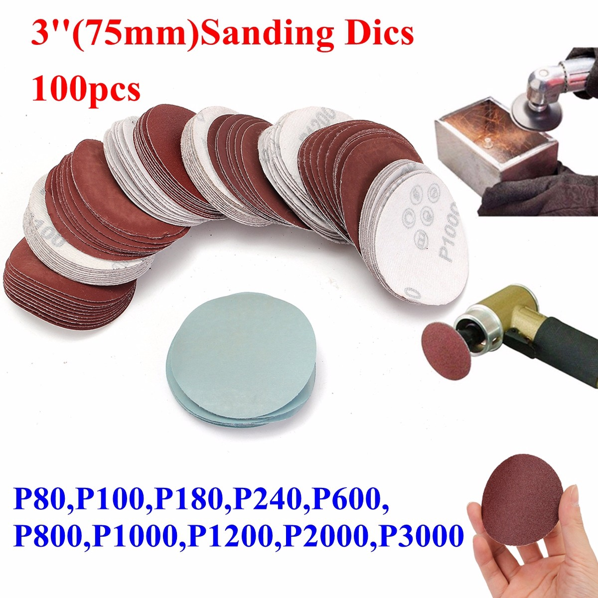 100pcs 3 Inch 75mm Sanding Disc Sandpaper 80 To 3000 Grit Abrasives Tools For General Polishing Buffing Discs Freeshipping
