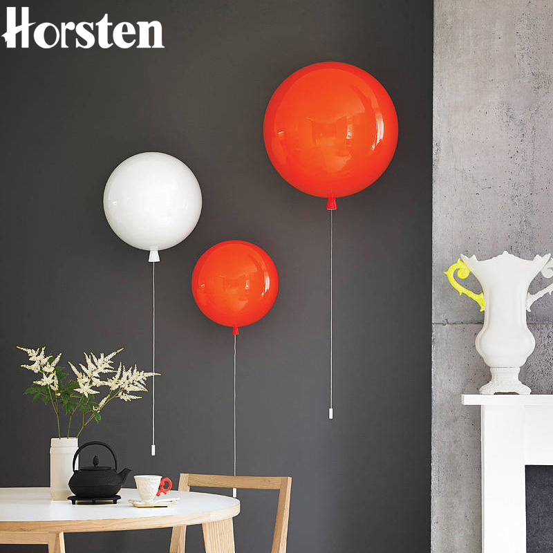 Horsten Modern Novelty Colorful Balloon LED Wall Lamp 25/30/35cm Acrylic Ball Lampshade Wall Lights For Kids Children Baby Room