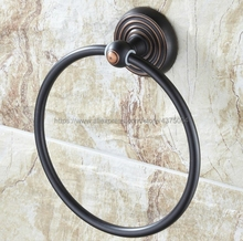 Black Oil Rubbed Brass Round Style Wall-Mounted Towels Ring Holder Hanger Bathroom Towel Bar Nba072 oil rubbed bronze bathrrom dual towel bar towel hanger soild brass wall mount