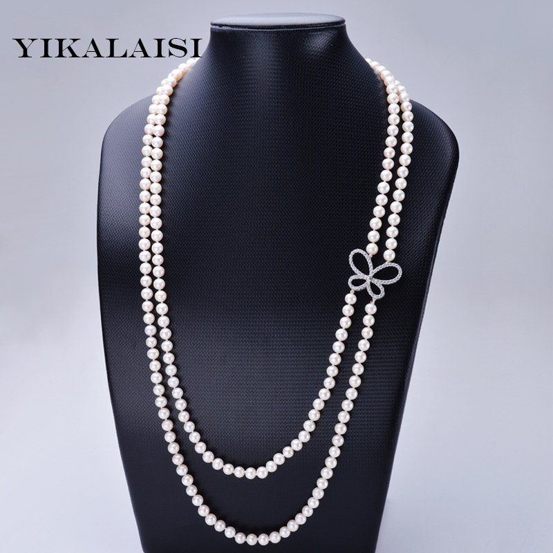 YIKALAISI 2017 long natural pearl choker necklace freshwater Nearround  pearl jewelry 150 cm  for Women Best Gifts weddingYIKALAISI 2017 long natural pearl choker necklace freshwater Nearround  pearl jewelry 150 cm  for Women Best Gifts wedding