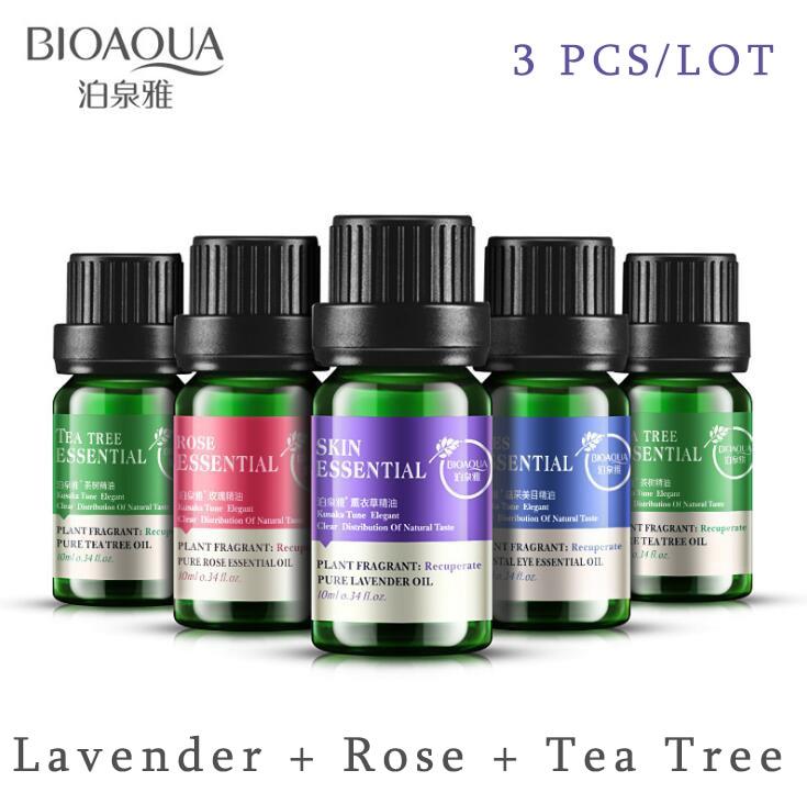 BIOAQUA Lavender, Rose ,Tea Tree Pure Plant Fragrance Moisturizing Face Body Skin Care Hair Essential Oil Acne Treatment 3PCS