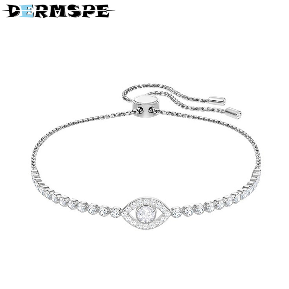 DERMSPE New Subtle-Evil-Eye-Bracelet-White-Rhodium-5368546-W600 Female Clavicle Chain Fashion Design Gift Charm Bracelet wing design chain bracelet
