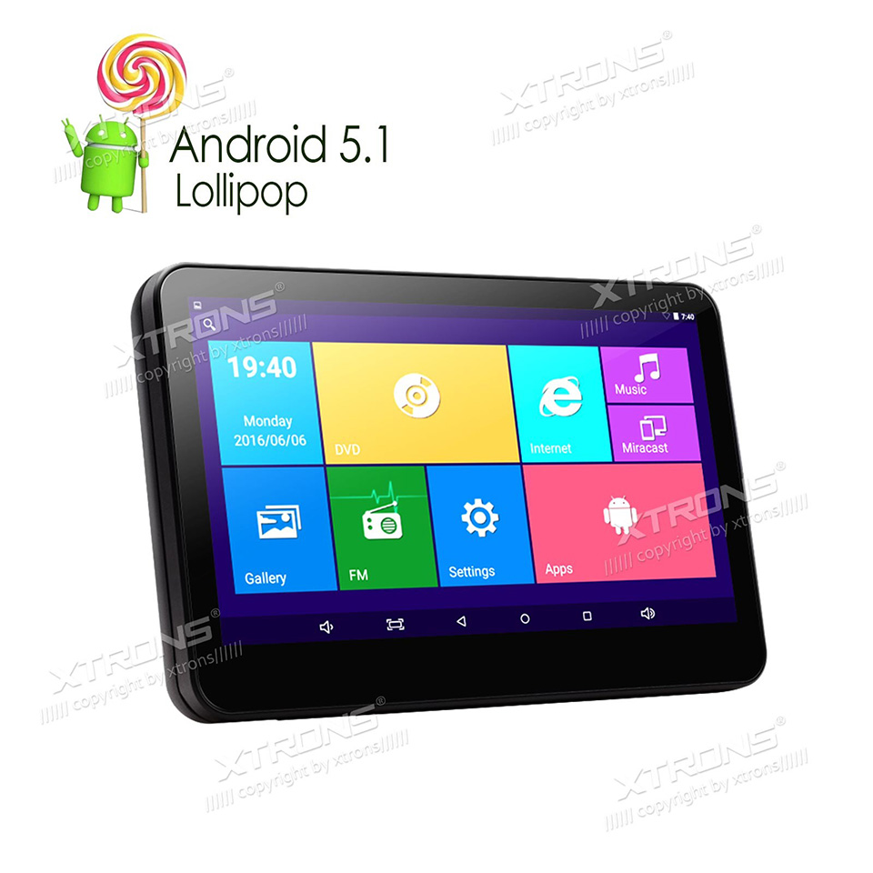 10.1″ Android 5.1 Quad Core Car Headrest DVD Player HDMI 1024*600 HD Touch Screen Win8 UI PC Audio USB SD IR FM Wifi Game Video