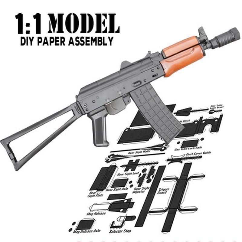 1:1 Ak-74u Spielzeug Pistole Modell Papier Montiert Pädagogisches Spielzeug Gebäude Bau Spielzeug Karte Modell Gebäude Sets