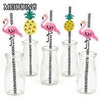 MEIDDING Christmas Decor Flamingo Pineapple Paper Drinking Straws Party Kids Birthday Wedding Pool Party Decoration Supplies