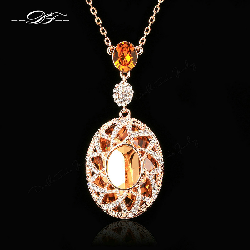 Hot Sale Exaggerated Large Crystal Princess Tear Necklaces & Pendants Crystal Vintage Jewelry For Women Chains DFN004 exaggerated vintage style golden spiral pendants alloy necklace for women