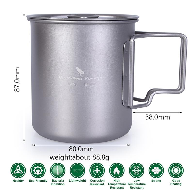 420ml Titanium Cup sa poklopcem Camping Mug Outdoor Water Cup - Kampiranje i planinarenje - Foto 2
