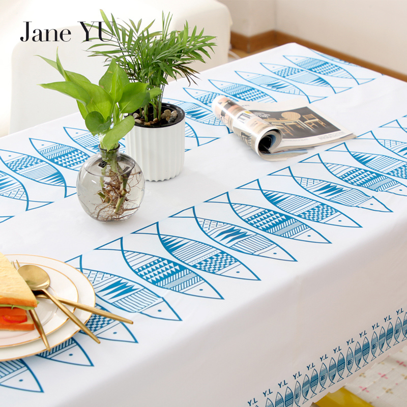 JaneYU Waterproof Oilproof Table Cloth Wipe Clean PVC Tablecloth Dining Kitchen Table Cover Protector OILCLOTH FABRIC COVER