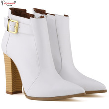 Fashion Women High Heel Boots 2015 Zip Ladies White Boot Winter Warm Leather Ankle Boots For Woman Shoes Red Smynlk-0082h