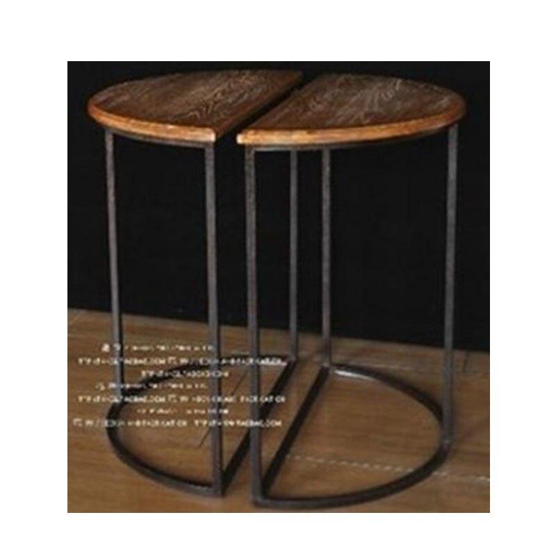 Vintage Metal Bar Chair Table Sets 100 Wooden Tea Talbe Anti Rust Treatment Wood Stool Furniture