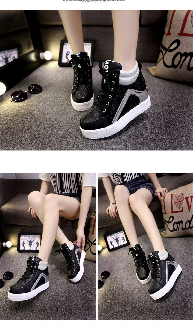 Height Increasing Women Casual Shoes 2015 High Top Mixed Colors Platform Ladies Shoes Breathable Lace Up Autumn Ankle Boots S28 (15)