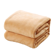 Coral Fleece Plaid Pure Camel Color Flannel Blanket Polyester Winter Sofa Cover Coverlet Bed Sheet Soft Warm Blankets On The Bed
