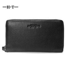 HT Brand Design Clutch Bag Wristlet Pouch Men Black Cowhide Genuine Leather Zipper Big Long Wallet Purse Coin Card Phone Pocket