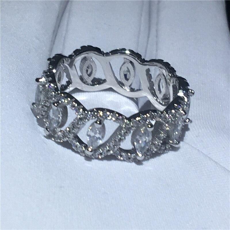 Design élégant bague en argent sterling 925 AAAAA zircon cubique fiançailles bagues de mariage pour les femmes bijoux de mariée cadeau - 3
