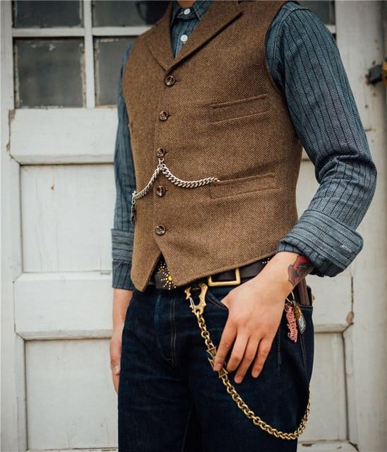 Men's Suit Vest Boutique Wool Tweed Slim Fit Leisure Cotton Male Gentleman Beckham Business Waistcoat For Wedding Groomsmen 2