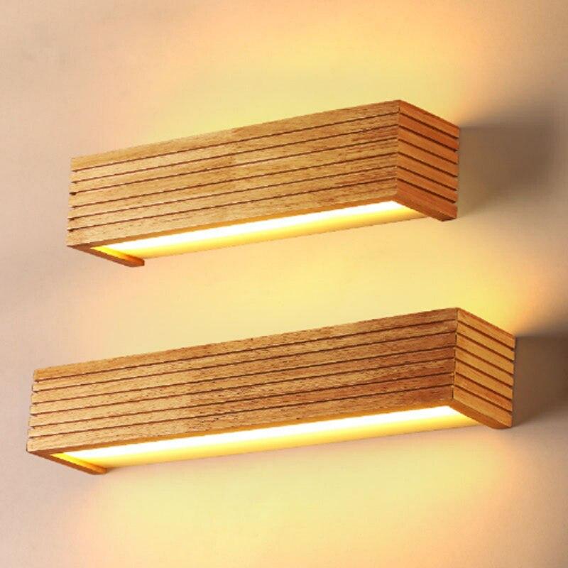 Modern minimalist rubber wooden square wall lamp Japanese style bathroom mirror headlights decorative LED lighting acrylic