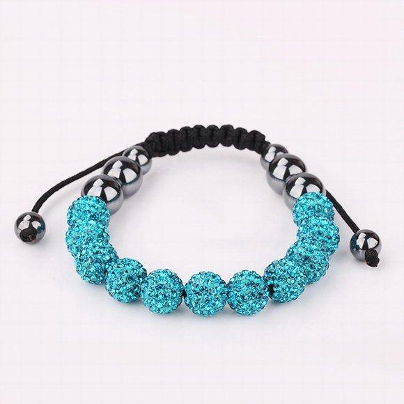 Free Shipping, Quality 11 Sea Blue Rhinestone Crystal Disco Balls Beaded Shamballa Bracelet, Handmade Shambala Bracelets(SBB133)
