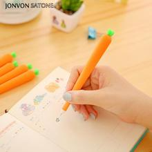 Jonvon Satone 4pcs Creative Carrot Simulation Neutral Pen Cute Korean Stationery Gel Pen Office School Supplies Black Gel-ink недорого