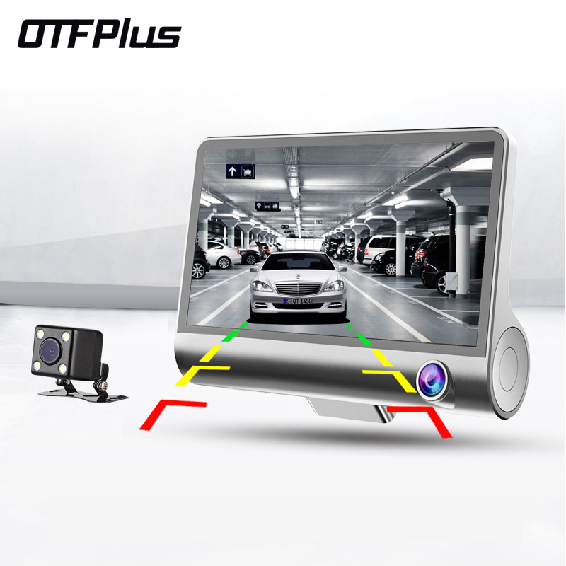 HD Car DVR Recorder 1080p dash cam 3 Channels Car Cameras rear view video registrator G-sensor 4.0 inch HD Camcorder tachograph ...