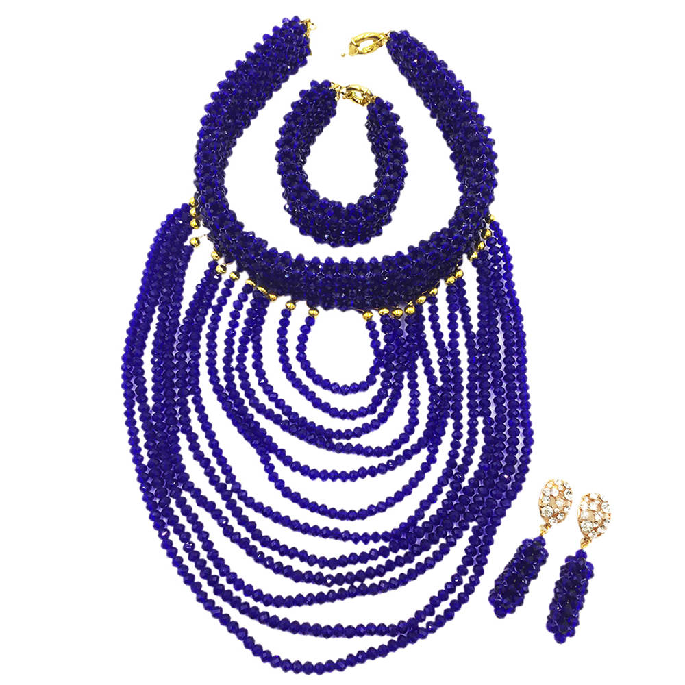 Royal Blue jewelry Set Nigerian Wedding African Beads Crystal Beaded Costume Necklaces Earrings Bracelet WDK-005 classic royal blue african costume beaded jewelry set handmade 3 layers nigerian beads wedding jewellry set free shipping 10057