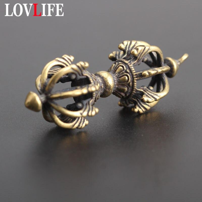 Copper Tibetan Buddhism Vajry Pestle Keychains Pendants Retro Brass Buddha Instrument Key Chain Auspicious Key Rings Collection