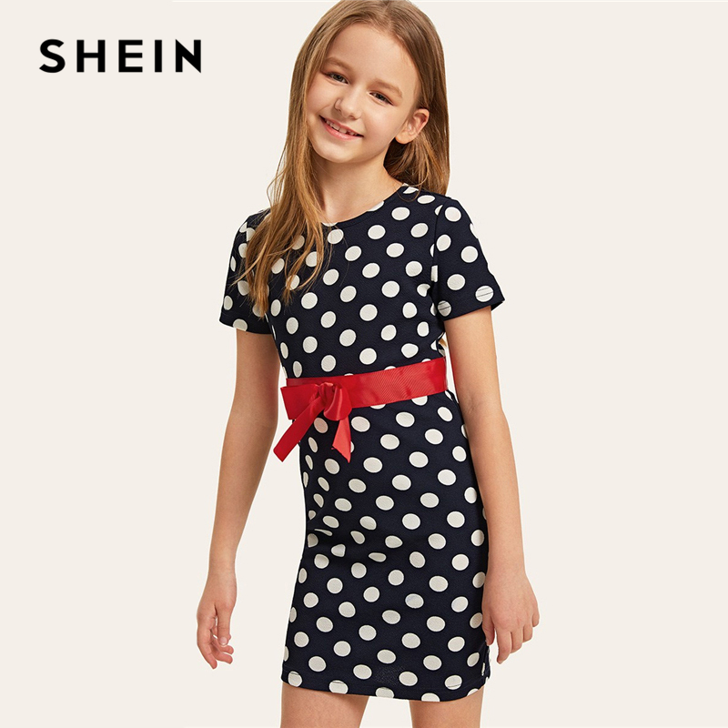 SHEIN Kiddie Navy Bow Belt Detail Polka Dot Zipper Bodycon Cute Short Girl Dress 2019 Summer Short Sleeve Kids Dresses For Girls girls 2017 summer and autumn with flowers and bow belt tulle dress children roses peter pan collar long sleeved princess dress