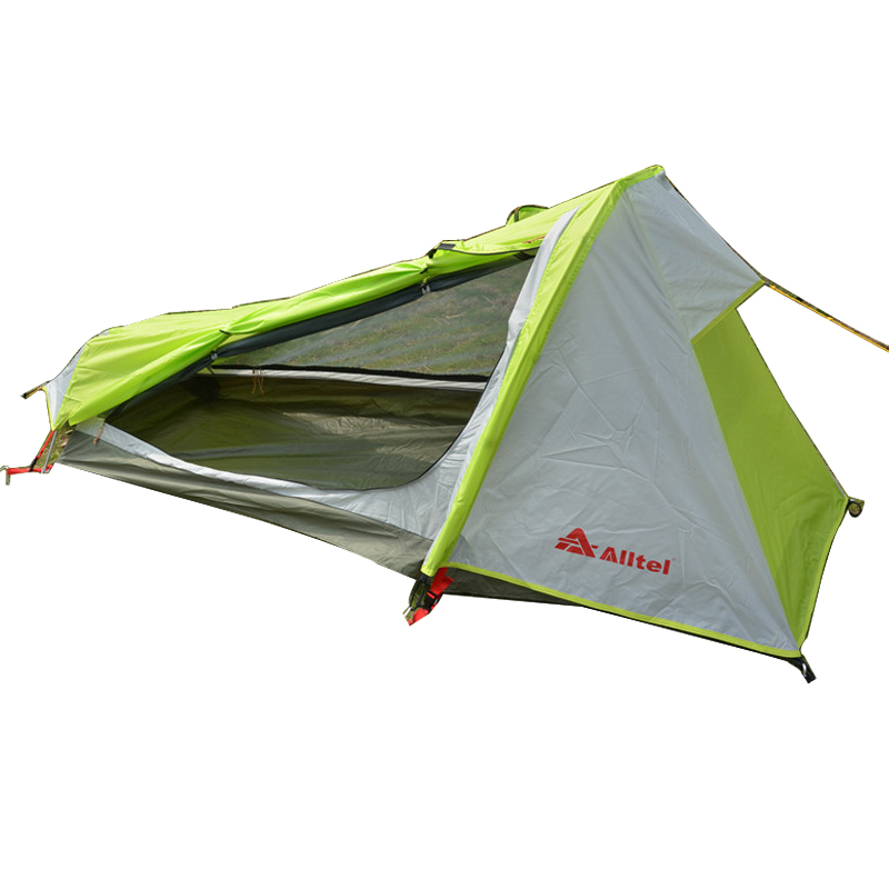 Outdoor Tent Camping Single Person Waterproof Double Layer Hiking Tent Ultralight 1 Man Portable Single Backpacking Tent hewolf 2persons 4seasons double layer anti big rain wind outdoor mountains camping tent couple hiking tent in good quality