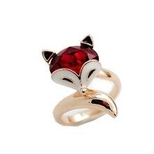 Можно выбрать размер кольца Высокое качество ювелирные изделия женский красный камень милый Счастливый маленький Лисичка кольцо