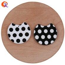 Hartelijke Ontwerp 36*36Mm 50Pcs Sieraden Accessoires/Hand Gemaakt/Azijnzuur Bead/Polka Dot effect/Diy Sieraden Maken/Oorbel Bevindingen