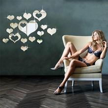 Home Decor Elegant Fashion Romantic Heart Mirror Acrylic Wall Sticker Sofa Background Love Wallpaper Wedding D35M31