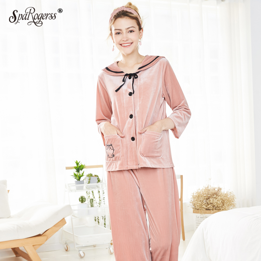 Pajama     Sets   Women Sleepwear Autumn Winter Finery High Quality Nightshirt Casual Wear Lovely   Pajamas   for Women's Pyjamas SR930
