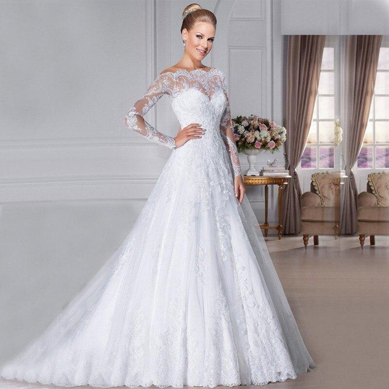 Holievery manches longues une ligne robes de mariée avec Appliques 2019 nouveau balayage Train robes de mariée bouton retour sukienka na wesele