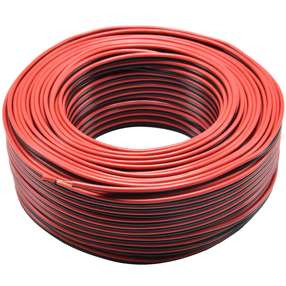 2*0.16mm2 Speaker Wire 2 Pin Red Black LED Light Connect Line Copper Car Audio Cable Speaker Electrical Cables 5/10/20/50m