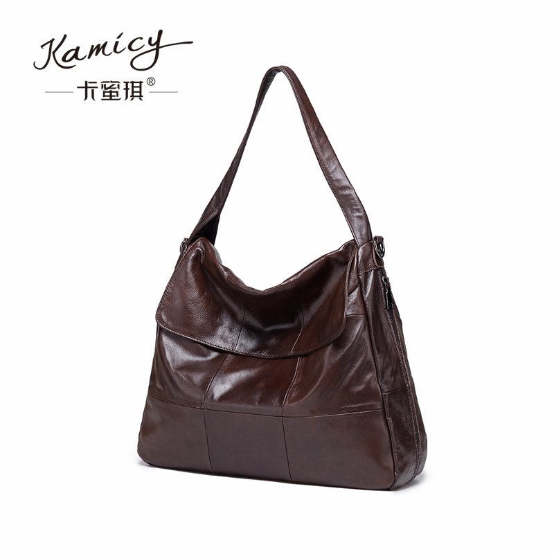 New 2018 Fashion Genuine Leather Women Handbag Patchwork Natural calfskin Shoulder Bag Famous Brand Women Bag Casual Tote new 2017 fashion brand genuine leather women handbag europe and america oil wax leather shoulder bag casual women