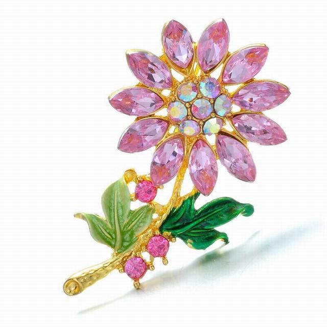 Crystal Flower Rhinestone Brooch