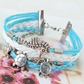 2x Turtle Hippocampus Friendship PU Leather Multilayer Woven Bracelet Jewelry