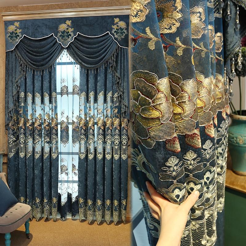 FYFUYOUFY estilo europeo de lujo chenille bordado cortina retro corte hilado bordado de tul de oro sala de estar
