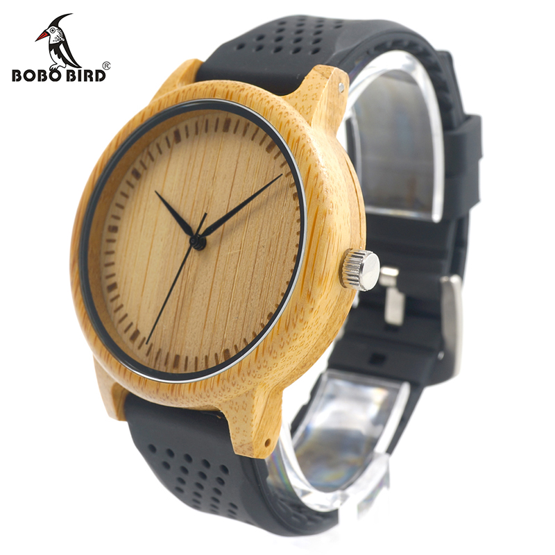 BOBO BIRD V-B07 New Fashion Mens Quartz Analog Träklocka Casual Toppkvalitet Med Färgstarkt Silikonband