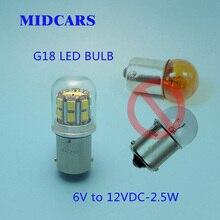 Lâmpada de led midcar g18 ba15s 6v 12v, r5w, p5w, luzes de freio, seta iluminação para estacionamento fonte