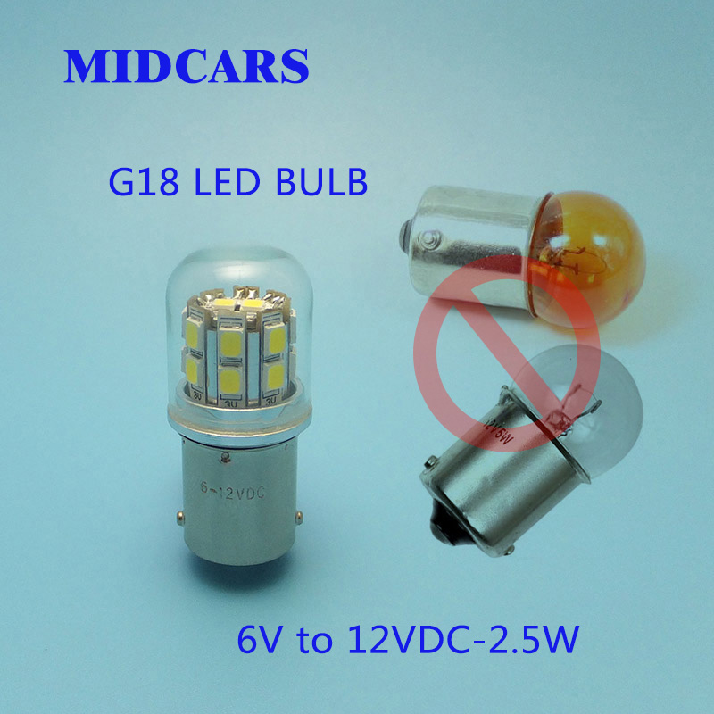 MIDCARS G18 BA15S 6V 12V R5W LED Bulbs P5W Brake Lights Tail Turn Light Lamp parking Reserve Lights car light sourceMIDCARS G18 BA15S 6V 12V R5W LED Bulbs P5W Brake Lights Tail Turn Light Lamp parking Reserve Lights car light source