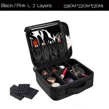HHYUKIMI Portable Makeup Organizer Storage Box/case 2 Layer With Adjustable Shoulder For Brush Set Nail Cosmetics Beauty Tool
