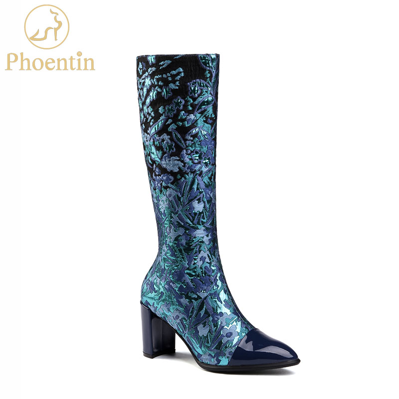 Phoentin flower print long boots woman 2018 new arrival mid calf boots embroidered pointed toe patchwork