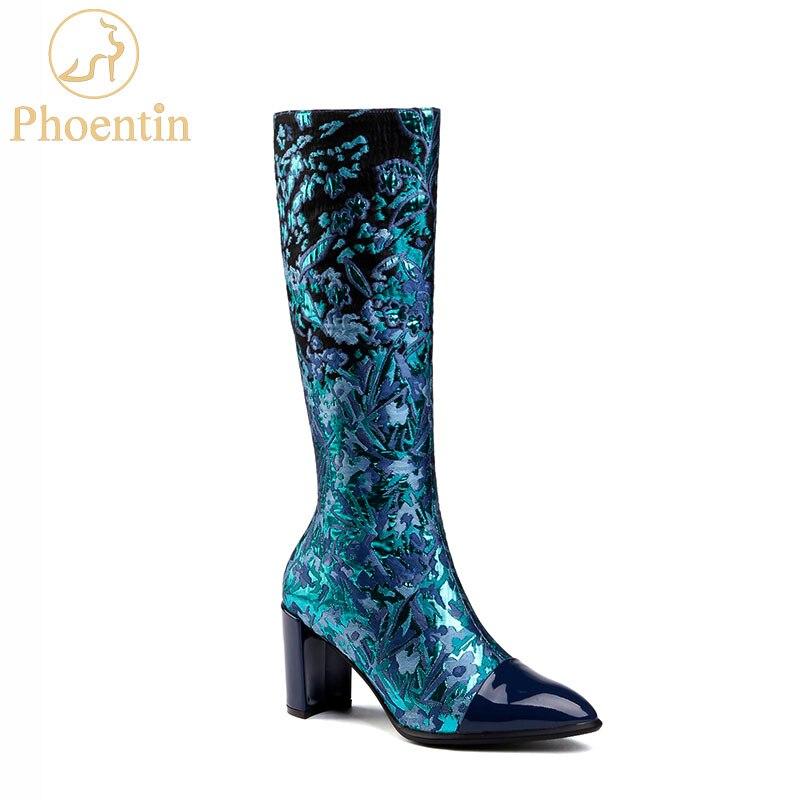 Phoentin زهرة طباعة أحذية طويلة امرأة 2018 جديد وصول منتصف العجل الأحذية المطرزة وأشار اصبع القدم خليط الأزهار الكعوب الأزرق FT532-في أحذية منتصف ربلة الساق من أحذية على  مجموعة 1