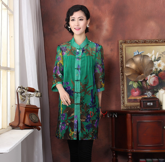 211a0daaec37 Green Traditional Chinese Women Tang Suit Tops Rayon Chiffon Blouses Flower Shirt  Clothing Size XL XXL