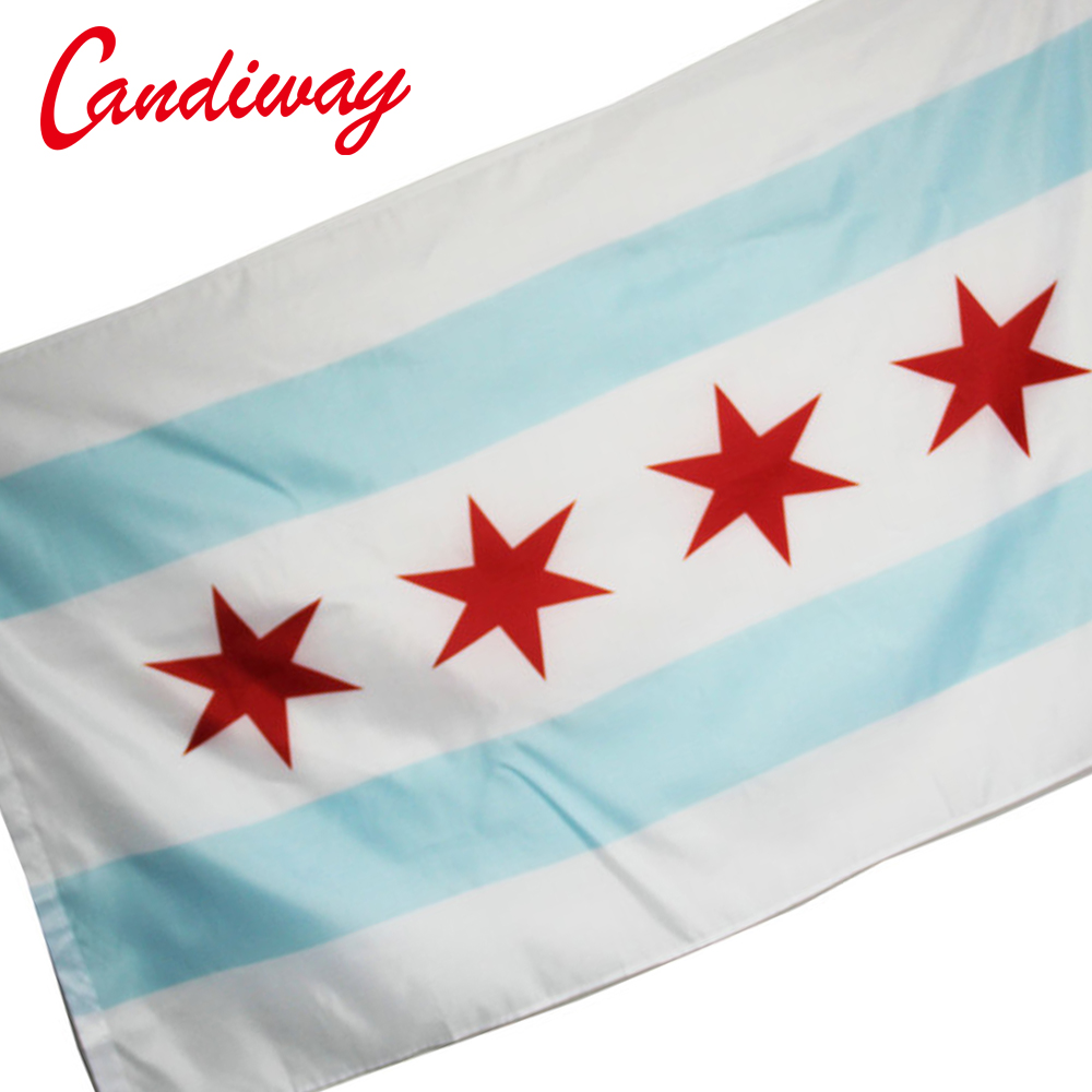 CANDIWAY City Chicago Flag Illinois Banner Windy City Pennant Indoor Outdoor 4 star flag United States state flags 90 x 150CM ...