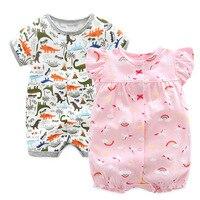 2018 летние детские Комбинезоны для малышек для новорожденных для маленьких мальчиков динозавр хлопок комбинезон без рукавов Обувь для дево...