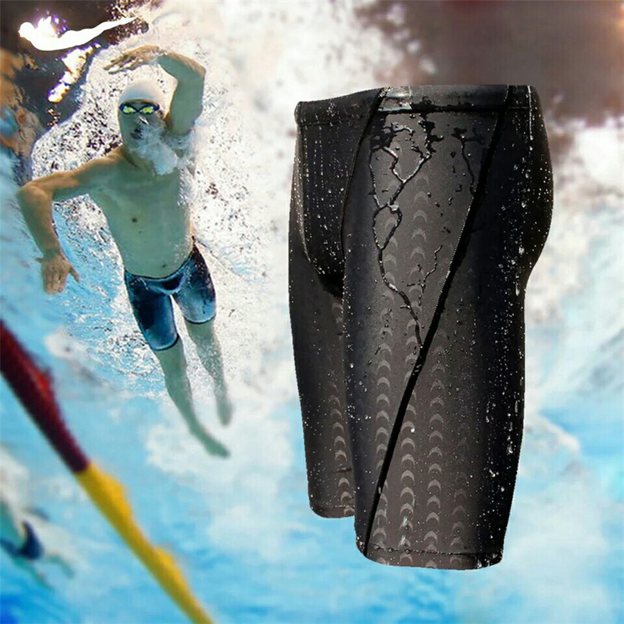 Free shipping and Hot sale sharkskin water repellent men's long racing swimming swim trunks Sport shorts classic men swimwear