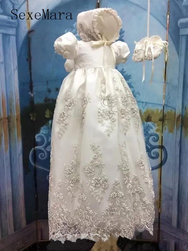 2019 Luxury White Ivory Baby Girls Christening Gown Lace Beading Short Sleeve O Neck Baptism Dress with Bonnet women s stylish lace splicing short sleeve jewel neck dress